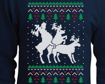 Humping Reindeer Threesome Ugly Christmas Sweater Men's Crewneck Sweatshirt