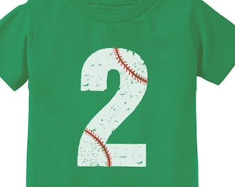 Baseball 2nd Birthday Gift for Two Year old Toddler Kids T-Shirt