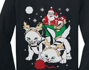 Cats Santa Ride Kittens Ugly Christmas Long Sleeve Toddler-Infant T-Shirt