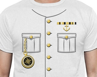 Ship Captain Halloween Costume Men Short Sleeve T-Shirt