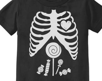 a1d877e2fe Children Skeleton Candy Rib-cage X-Ray Halloween Funny Toddler Kids T-Shirt