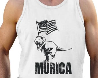 bc517198608e3 T-Rex Murica Flag - 4th of July America Patriot - Men s Tank Top Singlet  Sleeveless