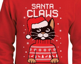 Santa Claws Cat Funny Ugly Christmas Sweater Men's Crewneck Sweatshirt