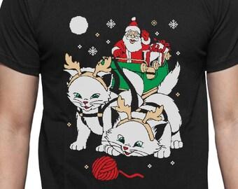 Cats Santa Ride Kittens Ugly Christmas Men's Short Sleeve T-Shirt