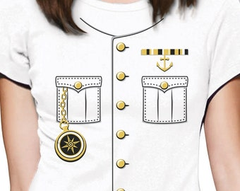 Ship Captain Halloween Costume Women Short Sleeve T-Shirt