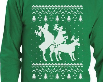 Ugly Christmas Party Sweater Humping Reindeer Men's Long Sleeve T-Shirt