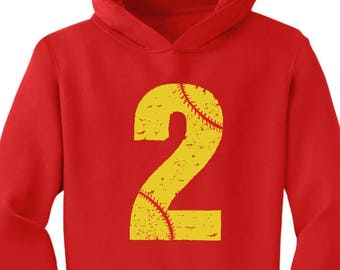 Softball 2nd Birthday Gift for Two Year old Toddler Hoodie