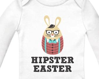 Hipster Easter Baby Long Sleeve Onesie Bodysuit Bunny Rabbit