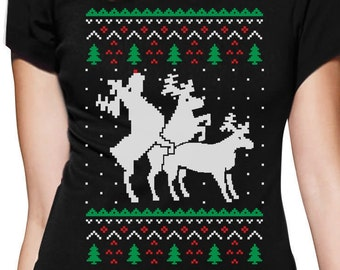 Humping Reindeer Threesome Ugly Christmas Sweater Women's Short Sleeve T-Shirt