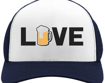 c7b543a0a61d1 I Love Beer - Gift for Beer Lovers   Drinkers Cool Trucker Hat Mesh Cap