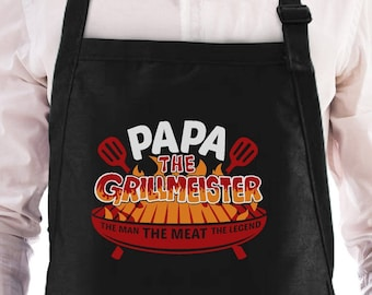Papa The Grillmeister - Griller Cooking Gift Idea Funny BBQ - Father's Day - Chef Apron