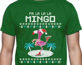 fa la la flamingo ugly christmas sweater funny xmas t shirt