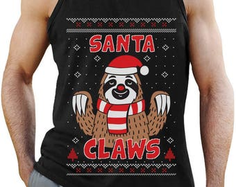 Santa Claws Sloth Ugly Christmas Sweater Funny Xmas Singlet