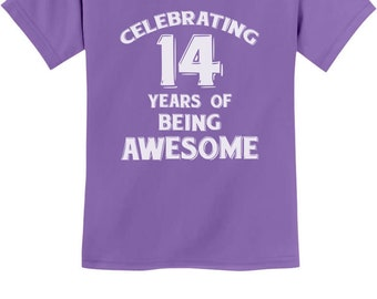 14 Years Of Being Awesome Birthday Gift For Year Old Youth Kids T Shirt