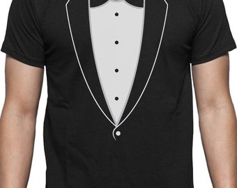 28738aa4 Printed Tuxedo With Bowtie Suit Funny T-Shirt