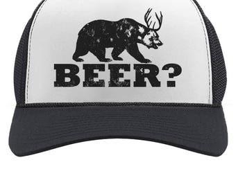 847b2c958dc Deer Beer Bear - Funny Vintage Style Retro Trucker Hat Mesh Cap