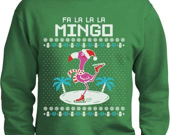 fa la la flamingo ugly christmas sweater funny xmas sweatshirt