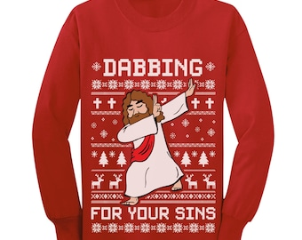 f532591a Dabbing For Your Sins Funny Jesus Dab Ugly Christmas Youth Kids Long Sleeve  T-Shirt
