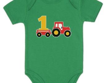One Year Old Boy Birthday Gift 1st Tractor Baby Bodysuit
