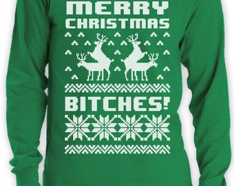 Merry Christmas Bitches Singlet Xmas Ugly Sweater Humping Reindeer Funny Tank