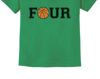 61fd82558 4th Birthday Gift for Four Year old Basketball Toddler Kids T-Shirt