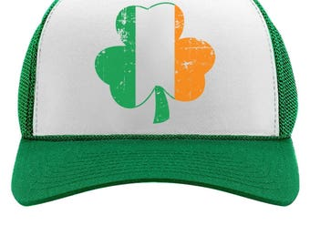 ba40f22d43453 Distressed Irish Flag Clover - Ireland Shamrock Trucker Hat Mesh Cap