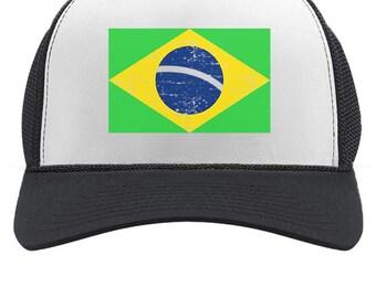 38522e19490 Brazil Flag Trucker Hat Vintage Style Retro Brazilian Trucker Hat Mesh Cap