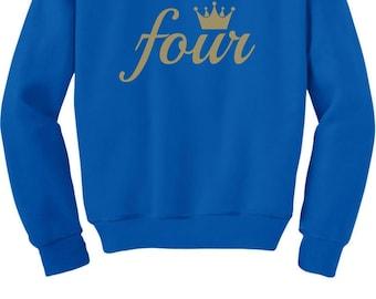 Fourth Birthday Gift 4 Year Old Crown Toddler Kids Sweatshirt