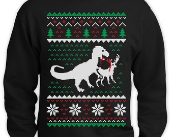 T-Rex Vs Reindeer Ugly Christmas Sweater Men Funny Sweatshirt