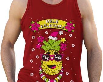 Mele Kalikimaka Hawaiian Pineapple Ugly Christmas Sweater Singlet