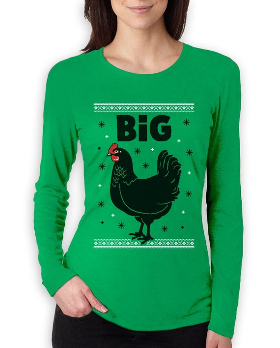 Big Black Cock Chicken Ugly Christmas Sweater Womens Long Etsy