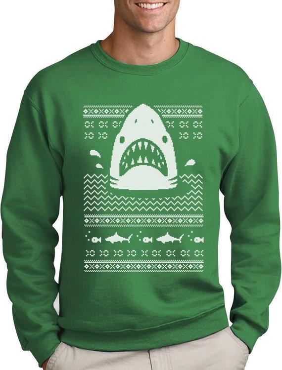 Der weiße Hai hässlich Weihnachten Pullover Herren Rundhals Sweatshirt
