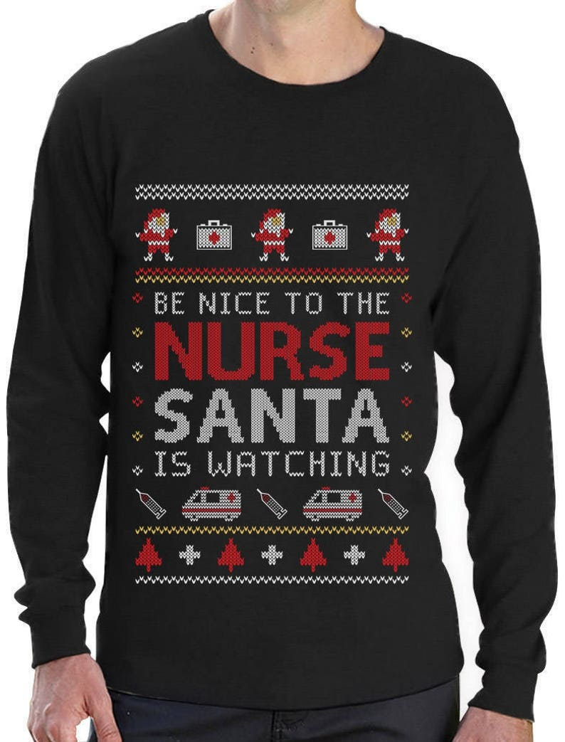 Nurse Christmas Sweater.Nurse Ugly Christmas Sweater Funny Xmas Gift For Nurses Long Sleeve T Shirt