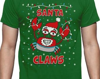 Santa Claws Ugly Christmas Sweater Crab Funny Xmas Lobster T-Shirt