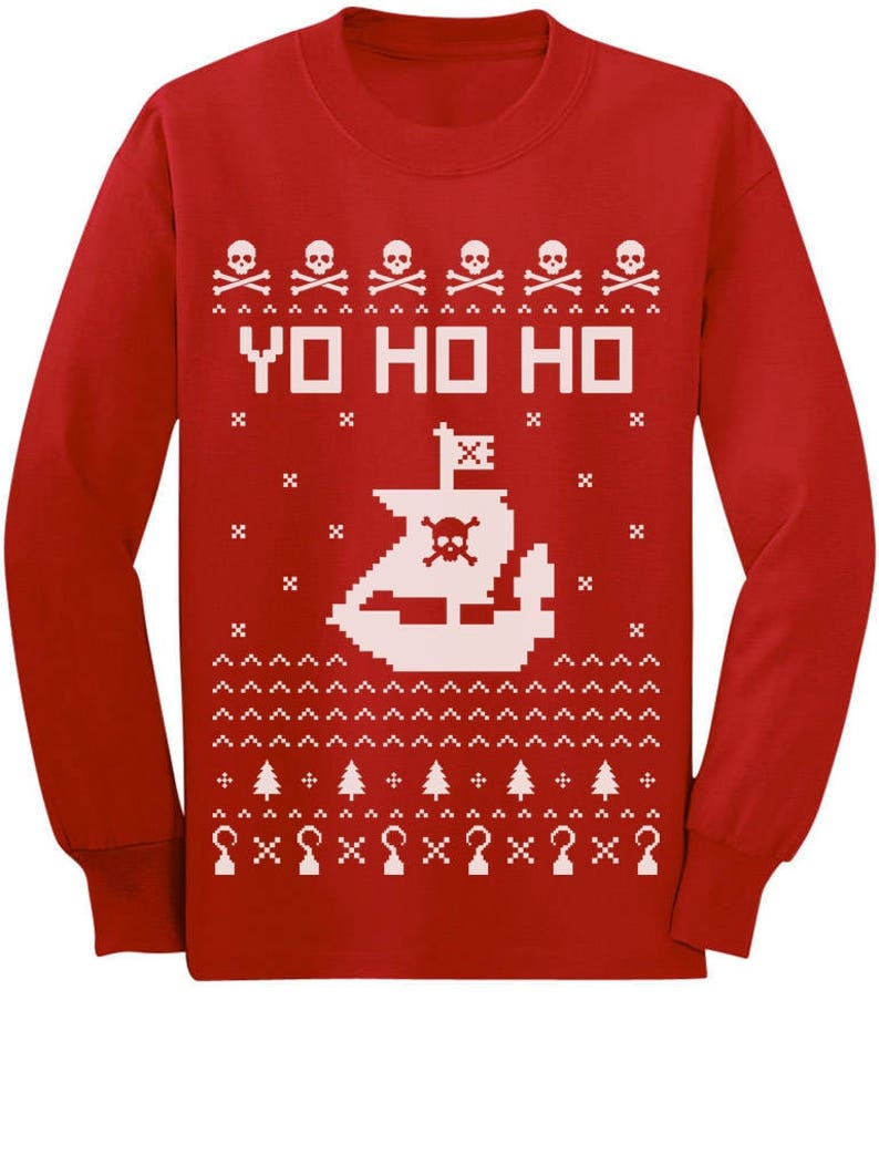 Yo Ho Ho Ugly Christmas Pirate's Ship Ugly Xmas ToddlerKids Long sleeve T Shirt