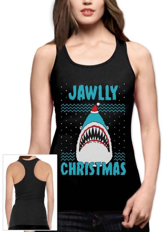 Jawlly Christmas Ugly Xmas Sweater Party Shark Racerback Tank Etsy