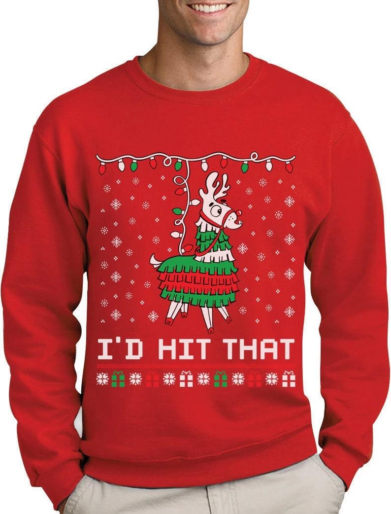1a5ef94b984 Llama Pinata Ugly Christmas Sweater i'd Hit That Sweatshirt