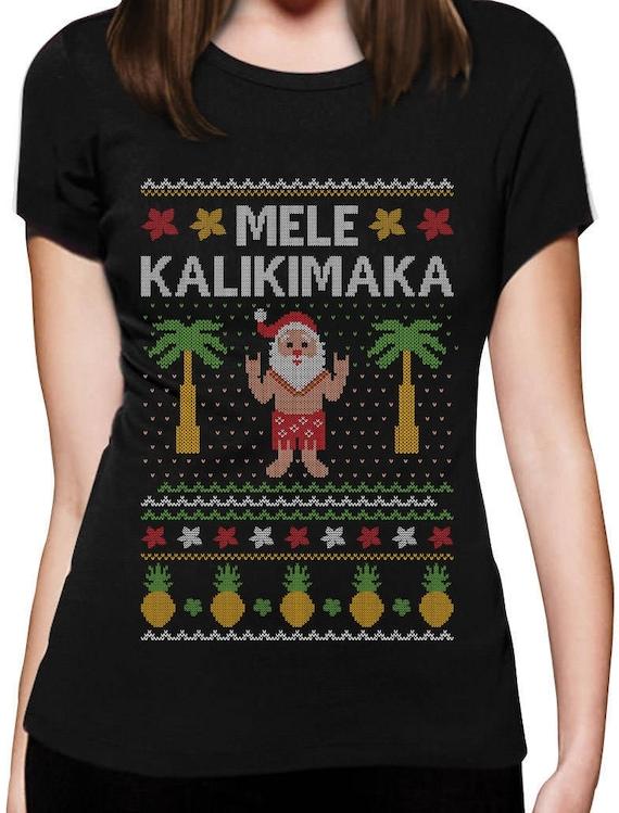 Christmas Hawaiian Shirt Womens.Mele Kalikimaka Hawaiian Santa Ugly Christmas Women T Shirt