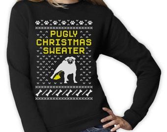 Pugly Ugly Christmas Sweater Women Funny Sweatshirt