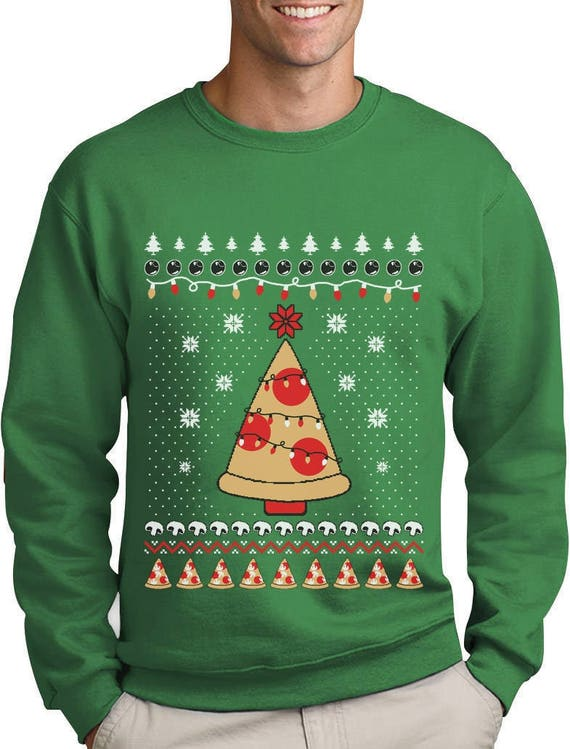 Ugly Christmas Sweater Funny.Pizza Ugly Christmas Sweater Funny Xmas Pizza Tree Sweatshirt