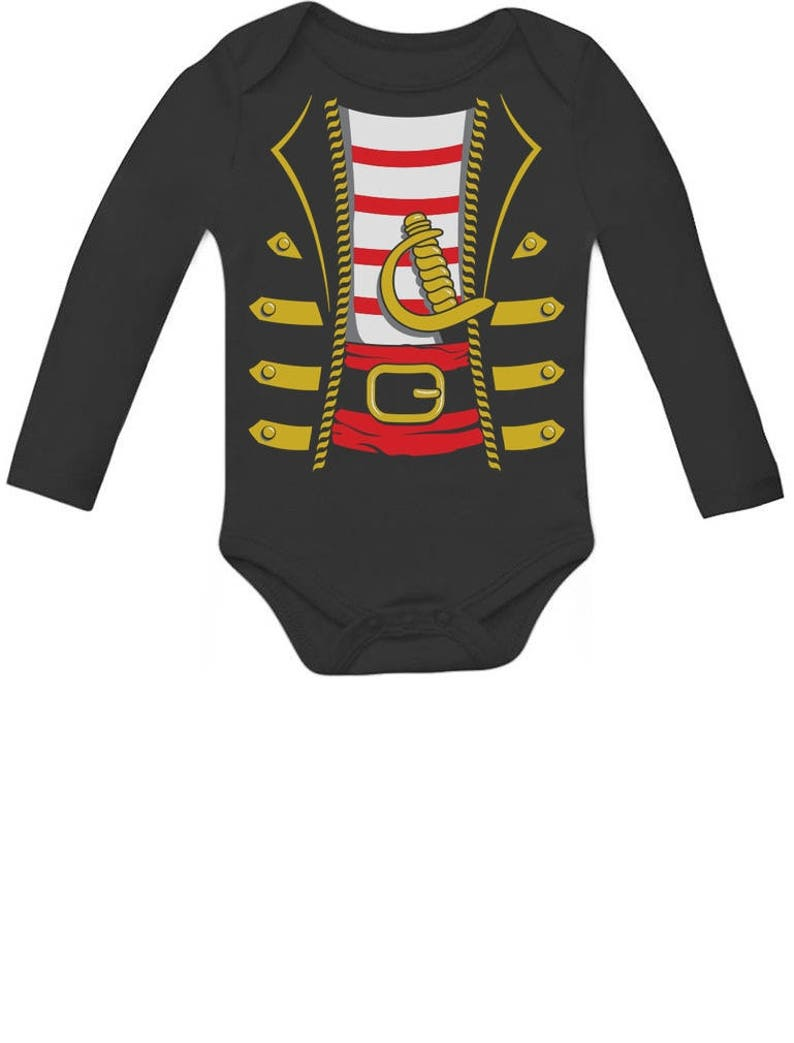 5496f4b7 Halloween Pirate Buccaneer Costume Outfit Suit Baby Long Sleeve Bodysuit