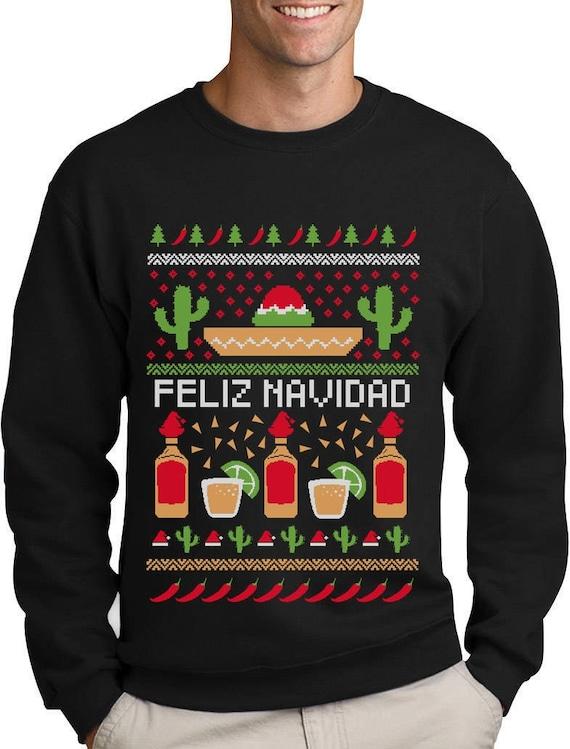 Ugly Christmas Sweater.Feliz Navidad Mexican Ugly Christmas Sweater Funny Xmas Sweatshirt