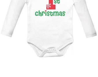 First Christmas Baby Boy / Baby Girl Cute Xmas Baby Long Sleeve Bodysuit