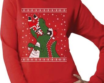 Santa Claws Ugly Christmas Sweater T-Rex VS Santa Funny Women Sweatshirt