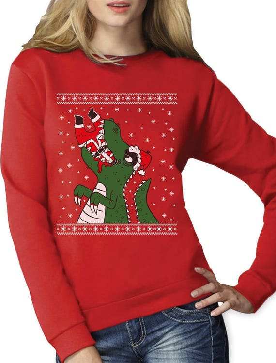T Rex Ugly Christmas Sweater.Santa Claws Ugly Christmas Sweater T Rex Vs Santa Funny Women Sweatshirt