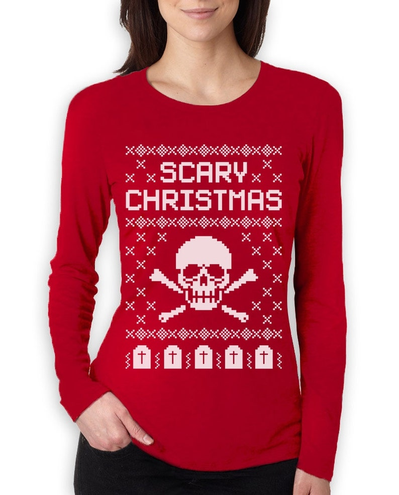 a8d3fee9b Scary Skull Ugly Christmas Sweater Women's Long Sleeve | Etsy