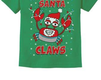 Santa Claws Crab Xmas Lobster Ugly Christmas Toddler Kids T-Shirt