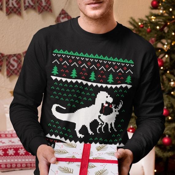 Hässliche Weihnachten Pullover T Rex VS Rentier lustige Xmas Langarm T Shirt
