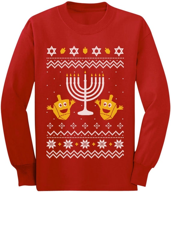 Funny Hanukkah Happy LlamaKkah Ugly Xmas Youth Kids Long Sleeve T-Shirt Gift