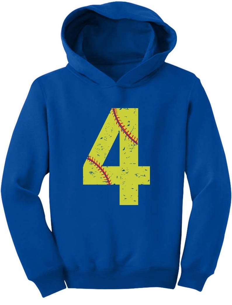 Softball 4th Birthday Gift For Four Year Old Toddler Hoodie